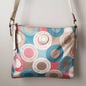 Coach sateen crossbody pastel